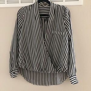 Tops - EUC black/white stripe boutique brand blouse